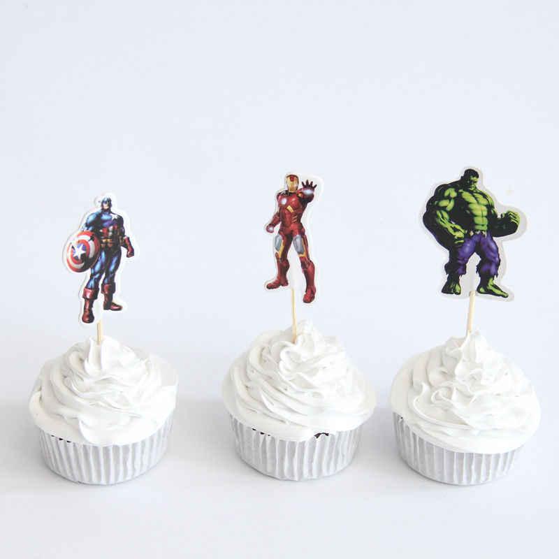 24 sztuk bohater Avengers Superman kapitan ameryka Batman Cupcake wykaszarki wybiera chłopca urodziny dekoracje na baby shower dzieci