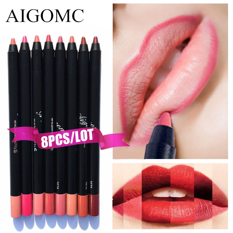 8 PCS/BOX Professional Sexy Red <font><b>Lip</b></font> Liner <font><b>Set</b></font> Pencils Waterproof Long Lasting Pigments Nude Color Brand Beauty <font><b>Makeup</b></font> <font><b>Set</b></font> Pen image
