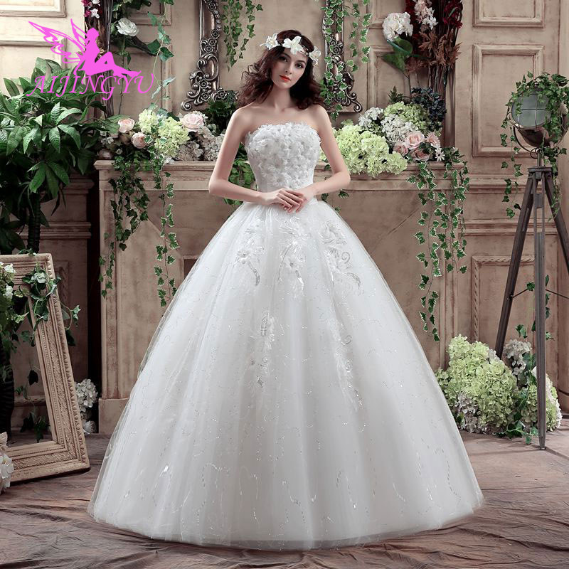 AIJINGYU 2018 Luxury Free Shipping New Hot Selling Cheap Ball Gown Lace Up Back Formal Bride Dresses Wedding Dress WK617