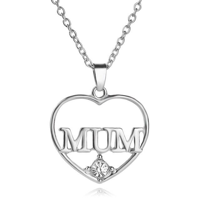 Mum Heart Necklace Rhinestone Pendant Chain CZeCztQ8hI