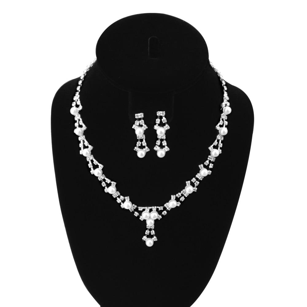 Imitation Pearl Silver CZ Rhinestone font b Crystal b font Wedding Jewelry Sets African Jewllery Set