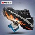 Modyf homens biqueira de aço sapatos de segurança do trabalho reflexivo respirável caminhadas ao ar livre botas casuais calçados de proteção à prova de punção