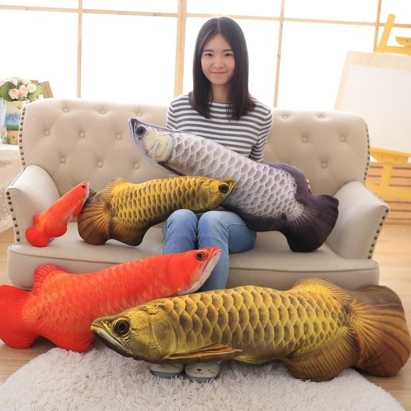 1 Pc Gold Arowana Plush Fish Cartoon Plush Toys Stuffed Animals Toys Cushion Toys For Kids Long Pillow Valentines Gifts