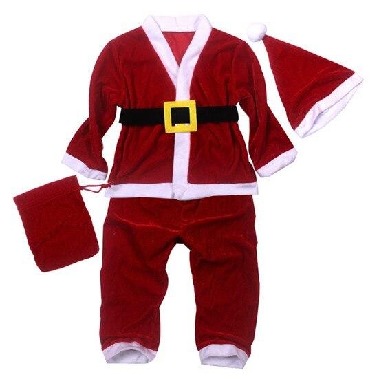 5set/lot! Children Christmas suits/200g High-Grade Pleuche Boys&Girls Santa Clause suit 5-in-1 set (Jacket, pants,hat,bag,belts)