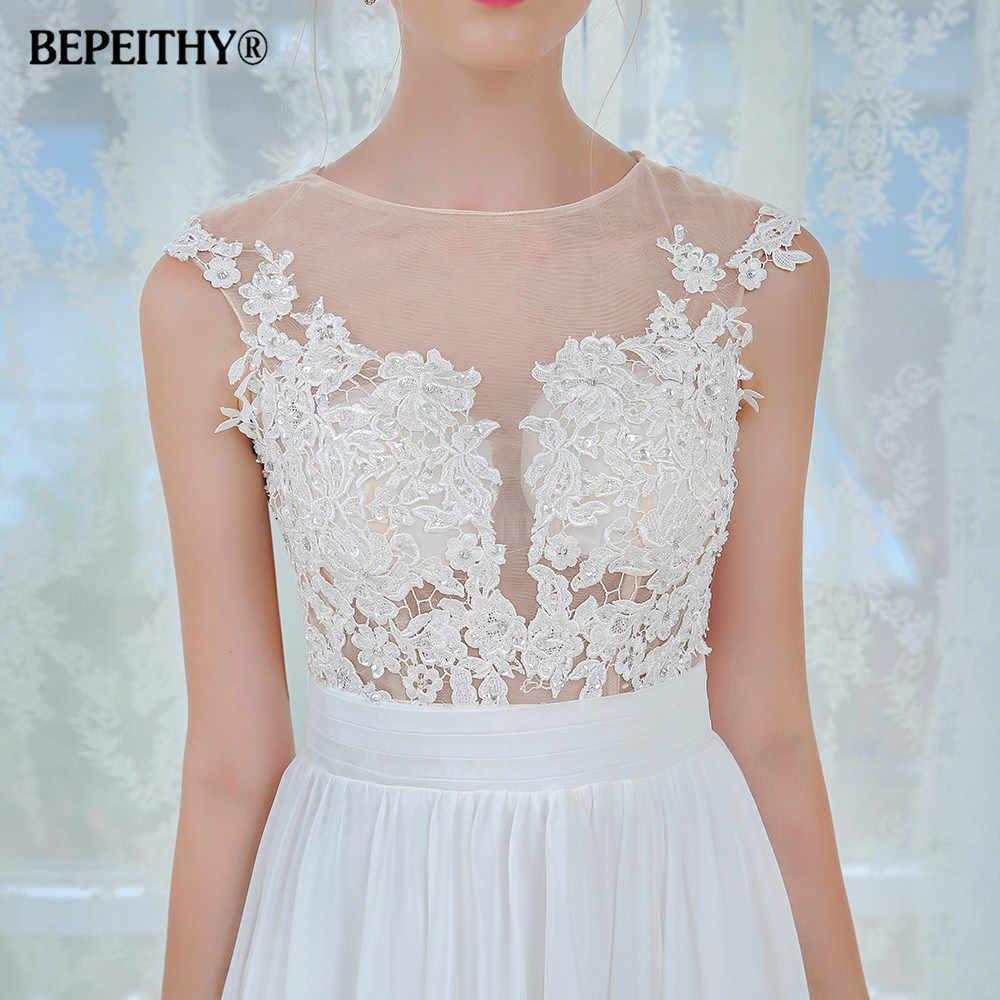 533df2c203 ... Vestido De Novia Short Sleeves Beach Wedding Dress 2019 Lace Sexy  Bridal Gowns Chiffon Wedding Dresses