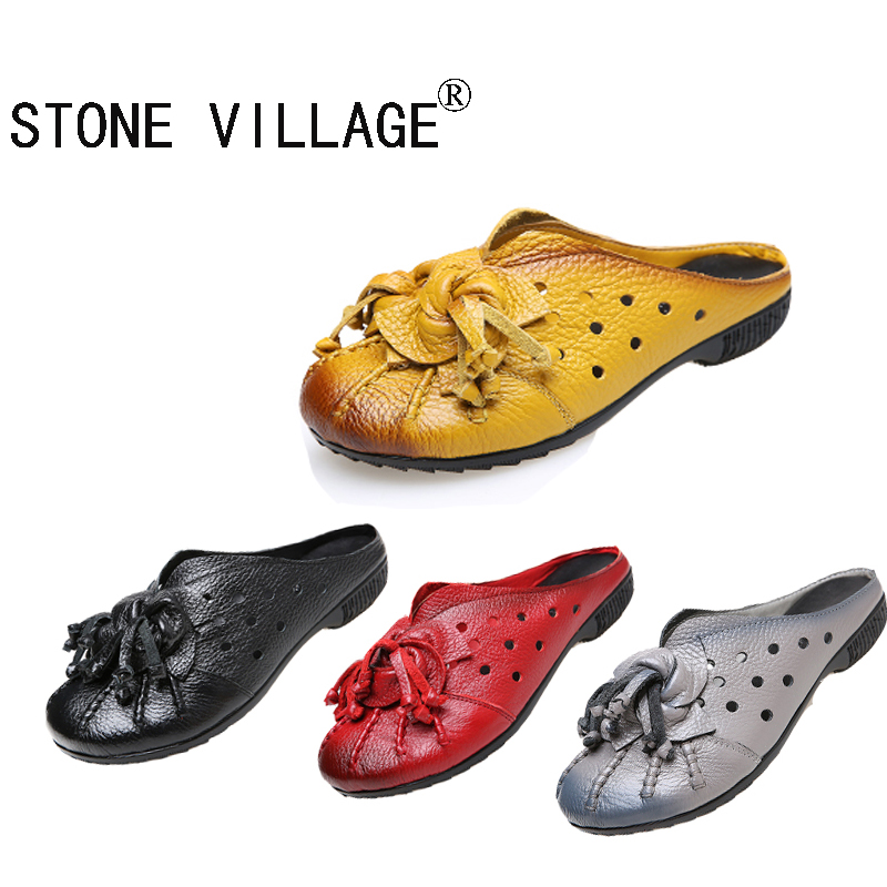 ФОТО STONE VILLAGE Casual Leather Shoes Baotou Women Flat Sandals And Slippers Comfortable National Wind Flowers Handmade Shoes