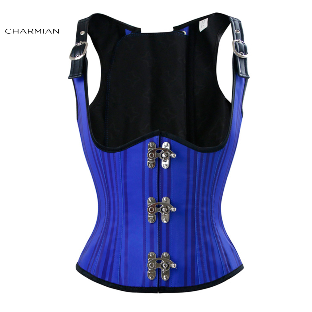 Charmian Women's Steampunk Underbust Corset Sexy Blue Striped Steel Boned Corsets and Bustiers Body Shaper Waist Trainer