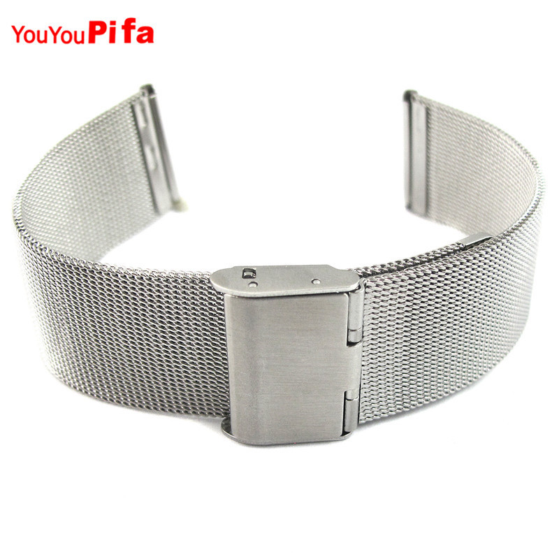 Silver High Quality Stainless Steel Mens Watch Band Web Mesh Watch Strap for Men Women Watches Hidden Bracelet 18/20/22/24mm