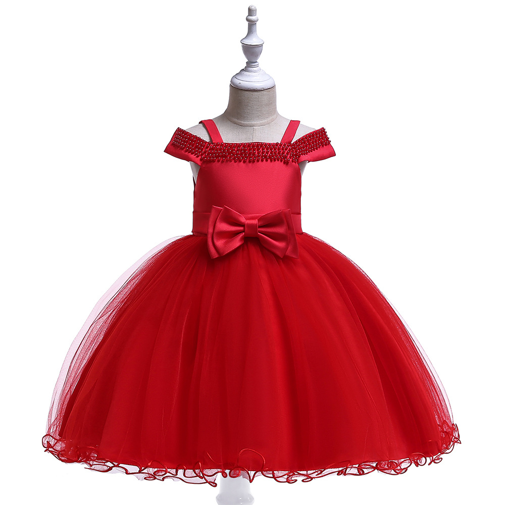 Wonderfual Ballgown Spaghetti Strap Red Flower Girl Dresses Tulle Kids Girl Birthday Dress Occasion Dresses 2019