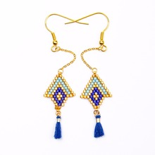 Shinus 10 Pairs/lot Miyuki Earrings Rhombus Bohemia Handmade Jewelry Women Drop Earrings Fashion pendientes mujer moda 2019 цена