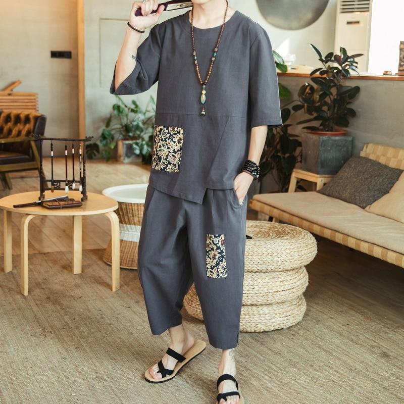Hommes costume 2019 été nouveau style chinois grande taille lin T-shirt impression à manches courtes gym survêtement gris noir