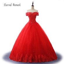 Gorgeous boat neck ball gown red Wedding Dresses 2017 Vestido De Noiva wedding Bridal Dress Gown