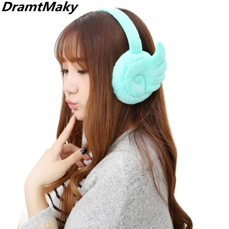 Fashion Wing Plush Female Winter Earmuff Warm Ear Muffs Headphones Girls Earmuffs  Earphone Ear Warmers Protector Fur Headphones
