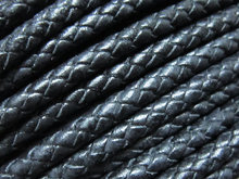 6mm Braided leather cord Black round