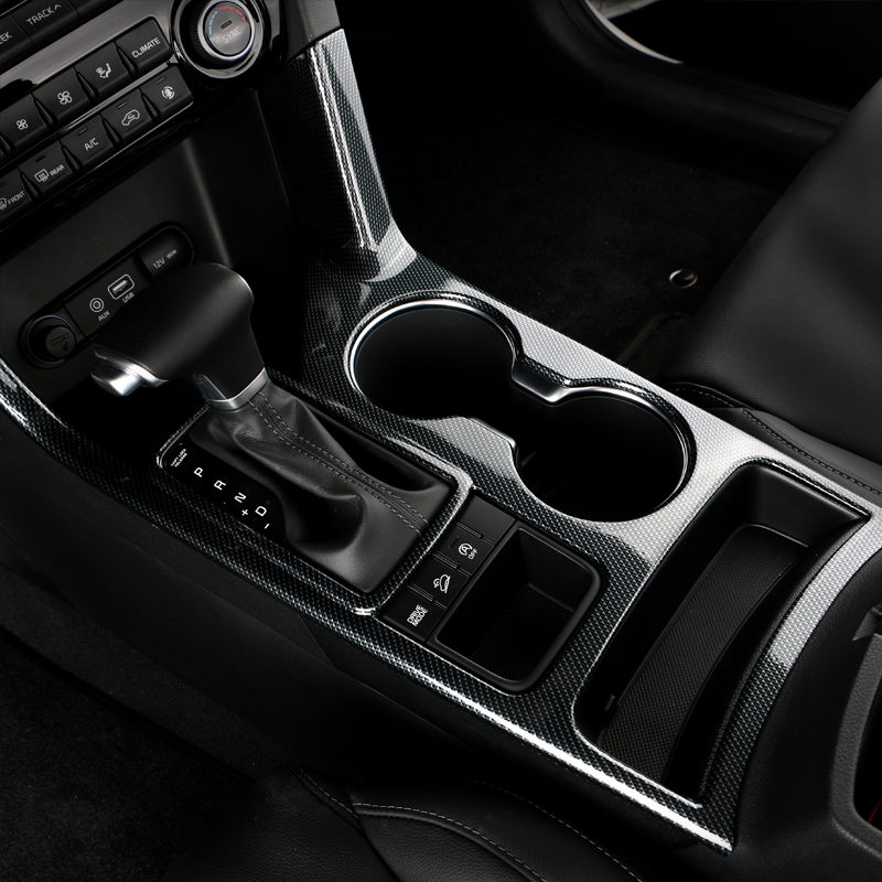 Carbon Fiber Car Interior Water Cup Holder Frame Cover Trim Decoration Sticker For Kia Sportage 4 QL 2016 2017 2018 Accessories