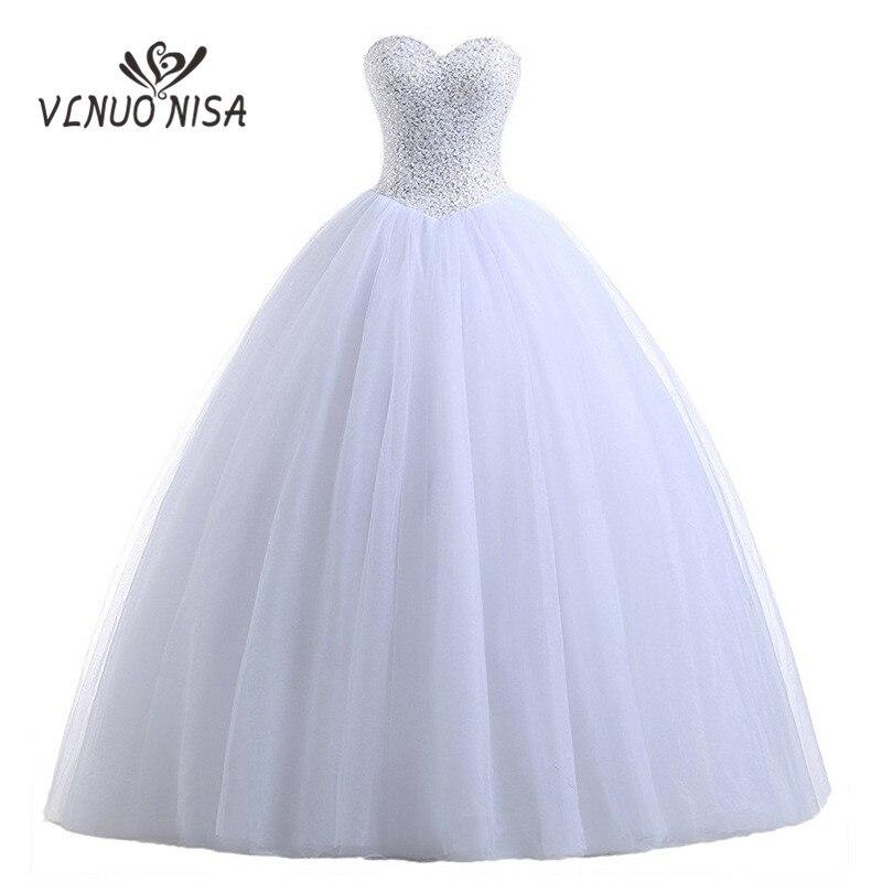 Luxry Beading Sequines Lace Strapless Sleeveless Wedding Dresses 2018 Robe De Mariage Ball Gown Dress vestidos de novia