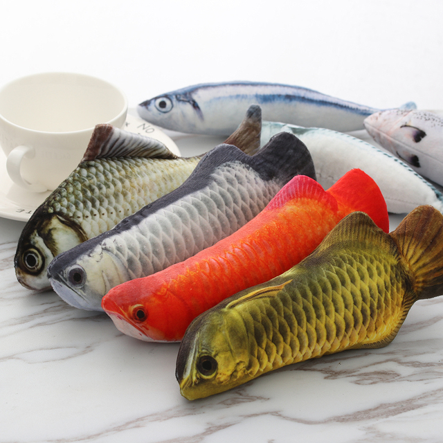 1PC Artificial Fish Plush Pet Cat Puppy Dog Toys Sleeping Toy Cat Mint Catnip Toys Cute Fish Tank Aquarium Decoration 1