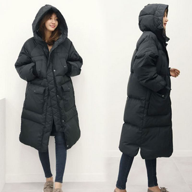 5a45f447026fe Korean Oversized Winter Jacket Women Long Hooded Thicken Warm Padded Down  Parkas Black Army Green Down Coat Military Parka 3XL-in Parkas from Women s  ...