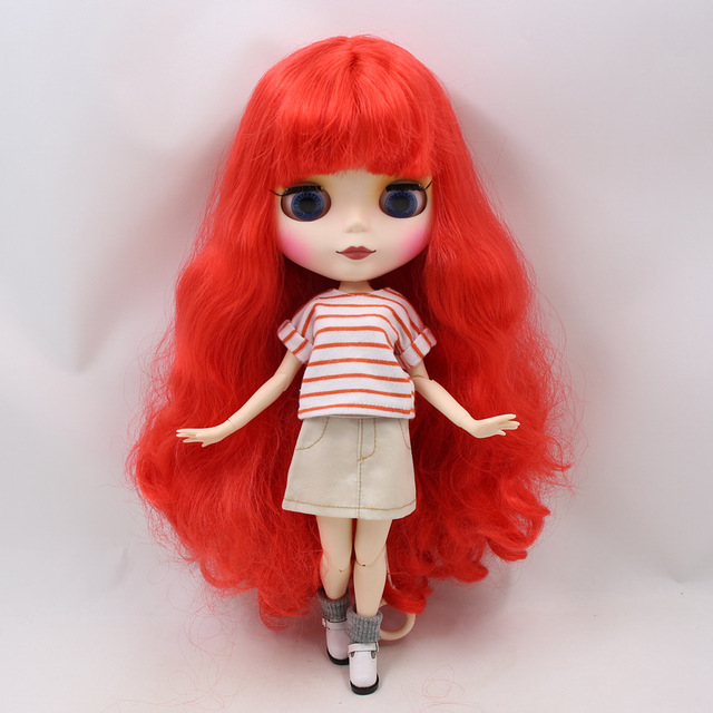 Blyth nude doll 30cm white skin tone red curly hair with bangs 1/6 Azone joint body matte face ICY makeup DIY toy No.280BL1061