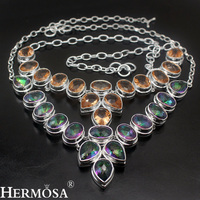 Shiny Faceted Solid Fashion Jewelry HERMOSA Luxury Womens 925 Sterling Silver Necklace 20 21 Party Hot