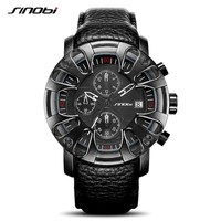SINOBI S9760 Watch for Men Sports Quartz S Shock Watches With Soft Leather Straps Eagle Claw Top Brand Luxury relogio masculino