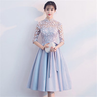 Bow Blue Women Qipao Satin Evening Party Gown Luxury Hollow Out Cheongsam Chinese Prom Dress Sexy Elegant Lace Short Vestidos