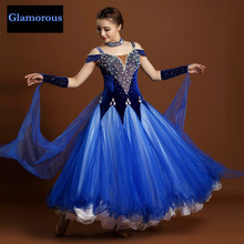 limited new luxury big pendulum rhinethone modern dance dress red hand sewn embroidered waltz/ballroom dance competition costume