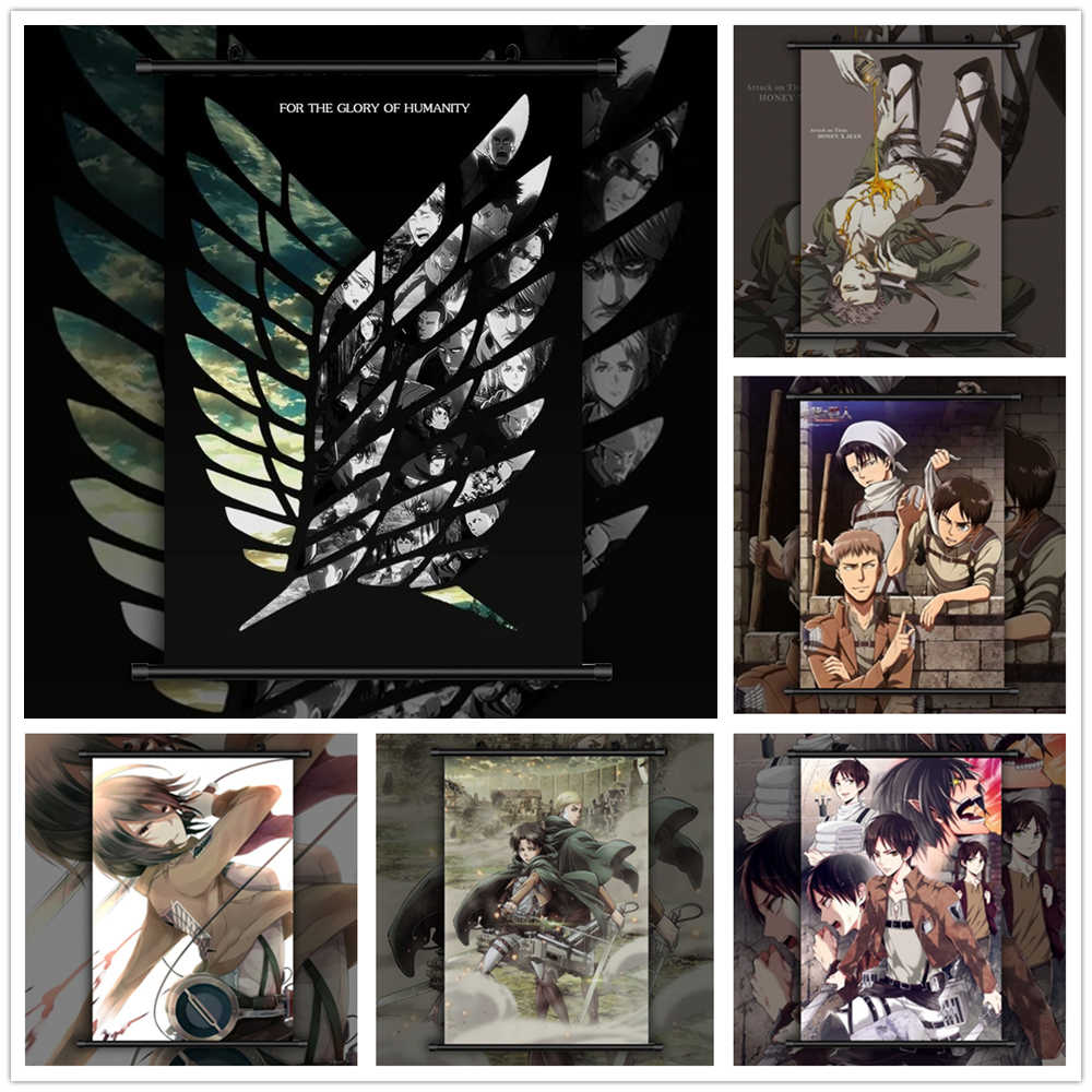 Attack On Titan Eren Levi Mikasa Armin Erwin Anime manga wall Poster Scroll F