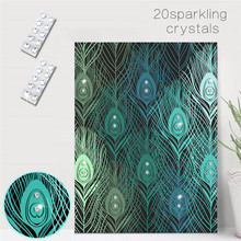 Hot Creative Peacock Feather Pattern DIY Crystal Rhinestone Decorative Painting Mural for Wedding Birthday Party Home Decor Gift