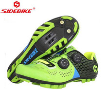 SIDEBIKE Mountain MTB Cycling Shoes Bike Ultra light carbon fiber Sole Auto-lock Bicycle Shoes Zapatillas Ciclismo GREEN RED