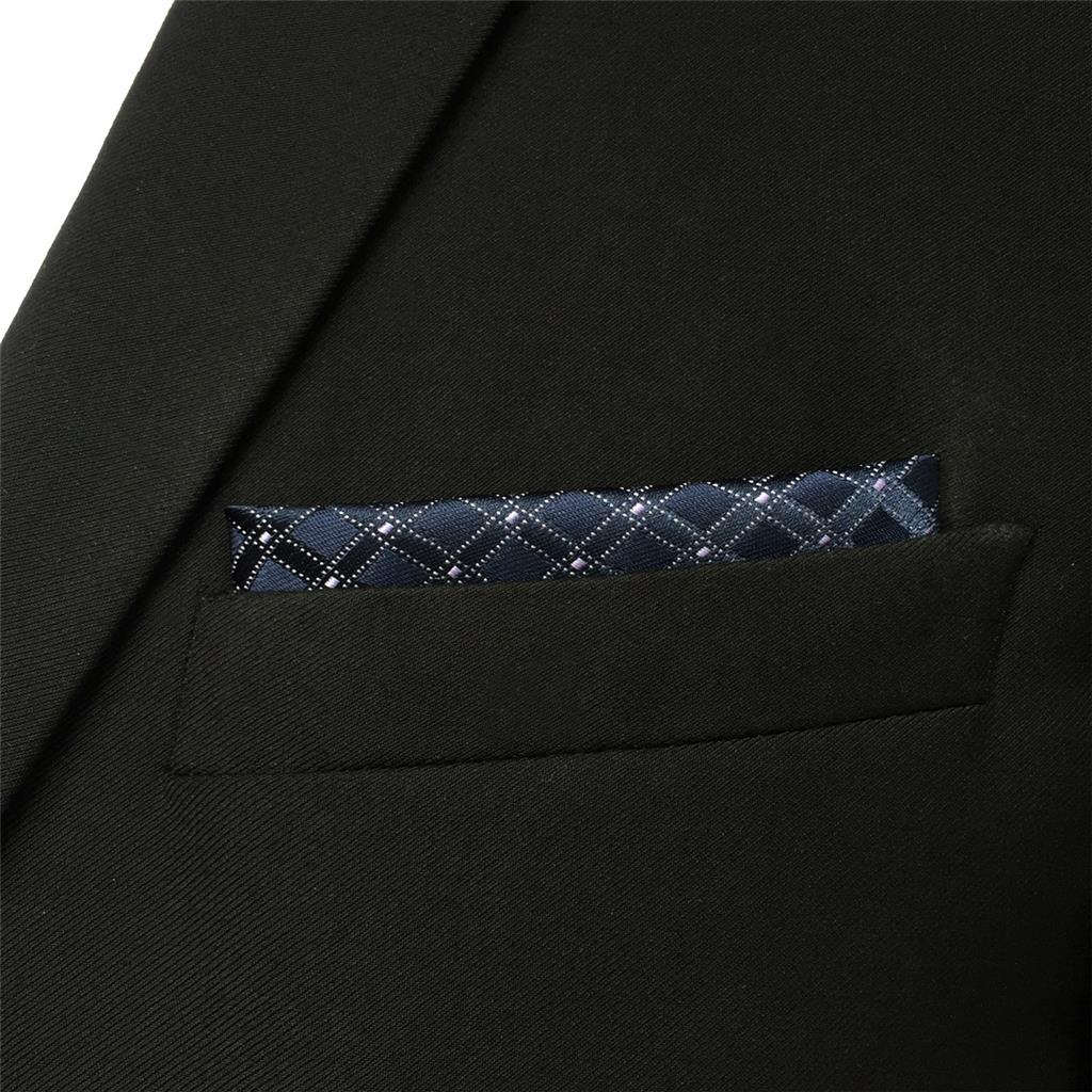 FH22 Navy Blue Checkes Mens Pocket Square Business Handkerchief Handkerchief