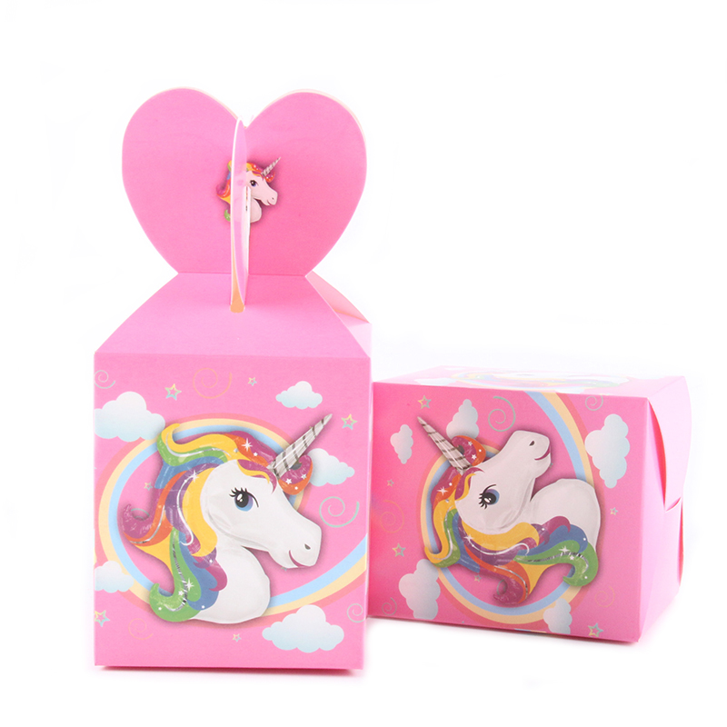 6pcs/lot Unicorn Theme Cartoon Paper Candy Box Kids Baby Shower Happy Birthday For Boy Girl Gift Party Decoration Supplies Disposable Party Tableware Event & Party