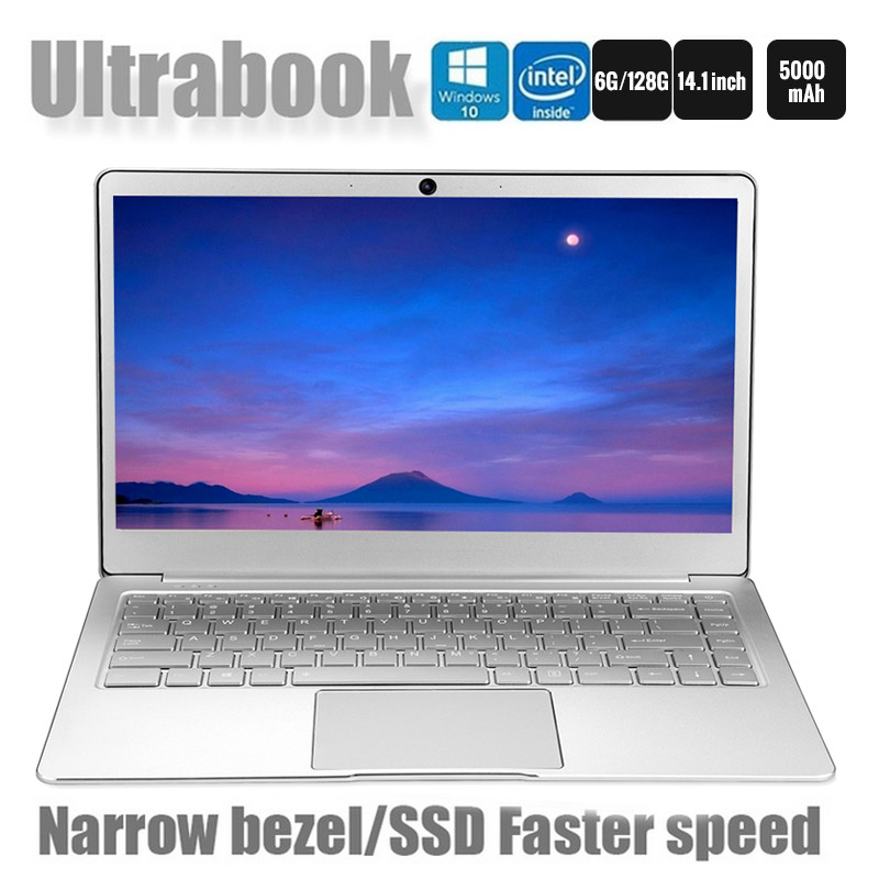 New Arrival 14.1 Inch Ultrathin Laptop 2.2GHz Quad Core 6+64GB/128GB SSD 1920*1080 IPS Screen Bluetooth 4.1 Notebook