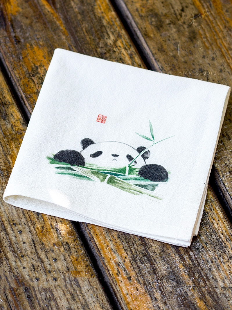 Hand Painting Cute Panda Cotton Handkerchief Gift Chinese Style Women Fashion Accessories Thicken Natural Linen Small Kerchief