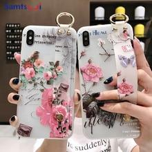 Samtsui Flower TPU Holder Case For Huawei Mate20pro 10 P30pro Lite P10plus Nova4 4e Nova3 3i 3e 2s Wrist Strap Transparent Coque