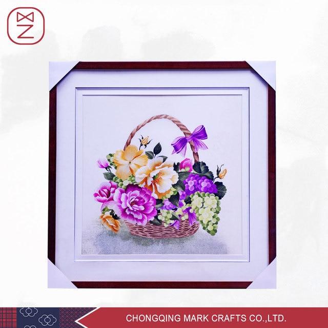Vivid Basket Peony Flower Silk Embroidery Painting Classic Wedding