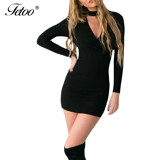 9f3bdd33ae8 Fashion Sexy Women Knitted Dress V Neck Long Sleeve Sheath Solid Mini  Pencil Bodycon Dresses Bandage Sweater Knitting Black P40