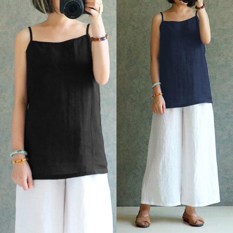 Tank Top Celmia 2018 Summer S-5XL Women Vintage Linen Blouse Sleeveless  Shirt Cami Loose ... 00e1f6cdf4ef