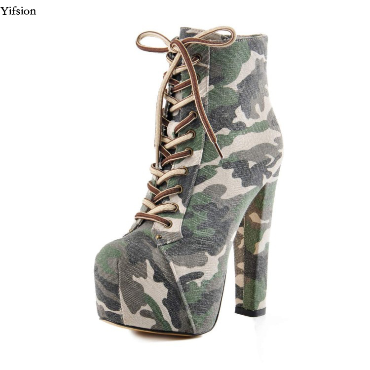afb94c9b36ab3 Yifsion Women Platform Ankle Boots Sexy Square High Heels Boots Nice Round  Toe 3 Colors Fashion