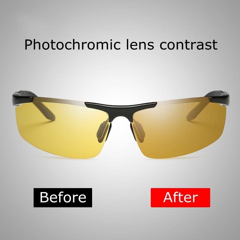 92f8d974b91 Polarized Photochromic Sunglasses Night Vision Driving Semi Rimless  Sunglasses fishing outdoor sport Sun Glasses for Men-in Sunglasses from  Men's ...