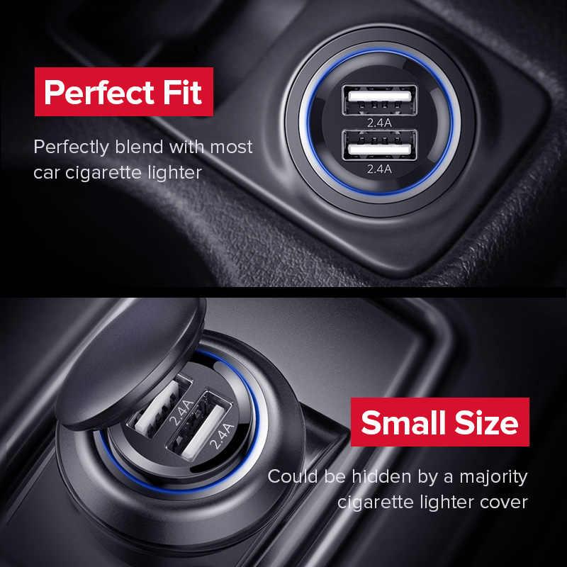 Ugreen Mini USB Charger Mobil untuk Ponsel Tablet GPS 4.8A Cepat Charger Mobil Charger Dual USB Mobil Telepon adaptor Charger Di Mobil