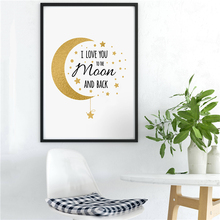 I Love You To The Moon And Back Minimalist Poster Paintings On Canvas Modern Art  Wall Pictures For Kid Living Room Home Decora