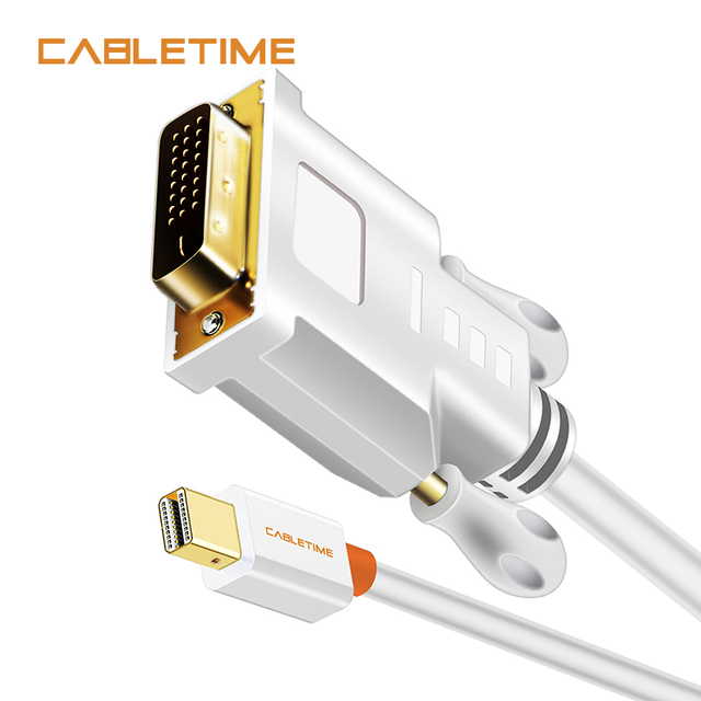 Flash Promo CABLETIME Thunderbolt Mini DP to DVI 24+1 Adapter Cable High Quality Mini Displayport Male to DVI-D Male Converter 1080P N014
