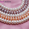 J. MOSUYA Real Collar de Perlas Naturales Para Las Mujeres Blanco Rosa Púrpura de Agua Dulce Perla Collar de Gargantilla de Joyería