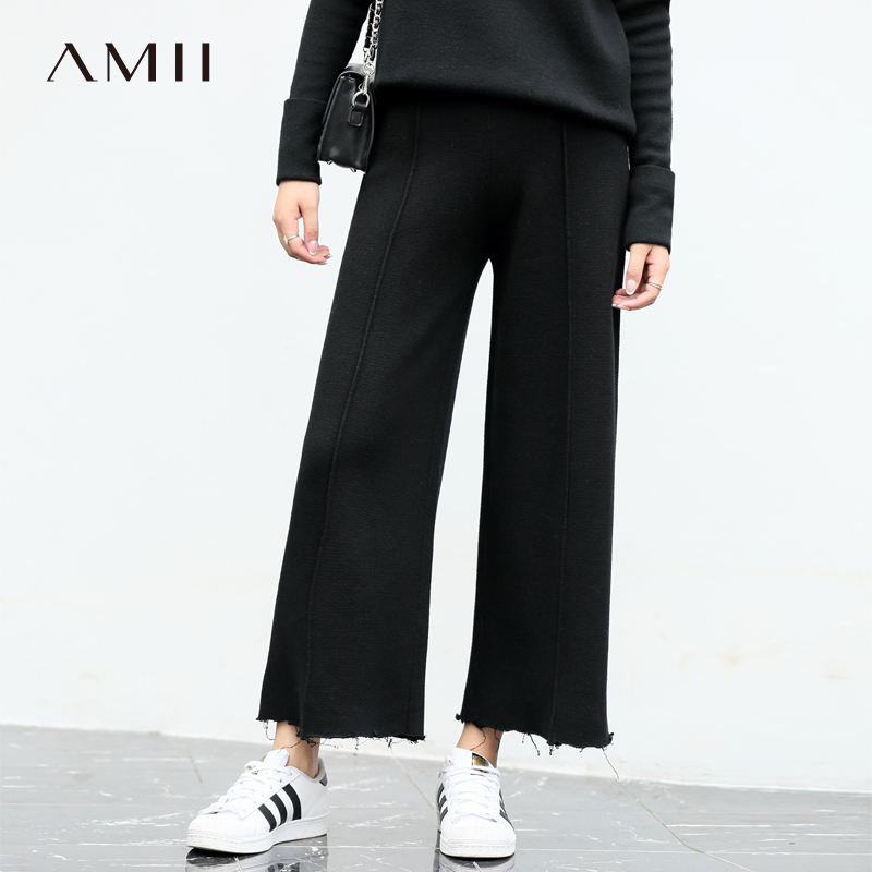 Amii Minimalism Knitted   Wide     Leg     Pants   Women Autumn Winter 2019 Fashion Wool Solid Loose High Waist Casual Female Trousers