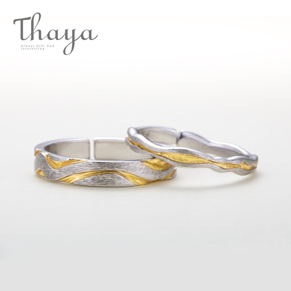 Thaya Classic 100% 925 Sterling Silver Gully Wave Rings Vibrant Design Jewelry For Engagement Lovers Finger Ring For Women Gift