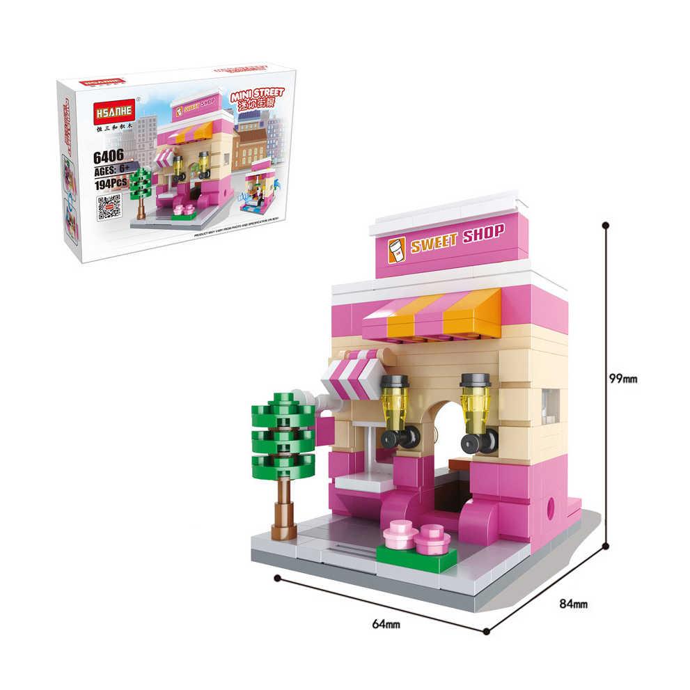 Modèle blocs de construction ville Mini rue scène café KFCE boutique Compatible avec les marques enfants jouets pour enfants