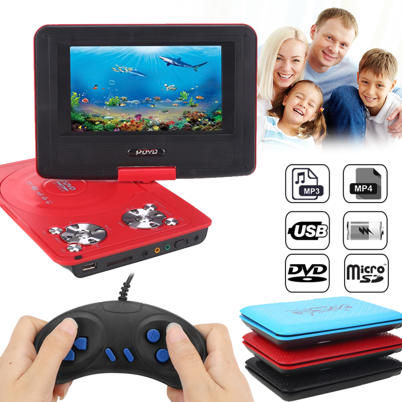 2018DVD Player Game Player Blu Ray Player Portable Rotatable 270 Degree LCD Gamepad 12V Audio