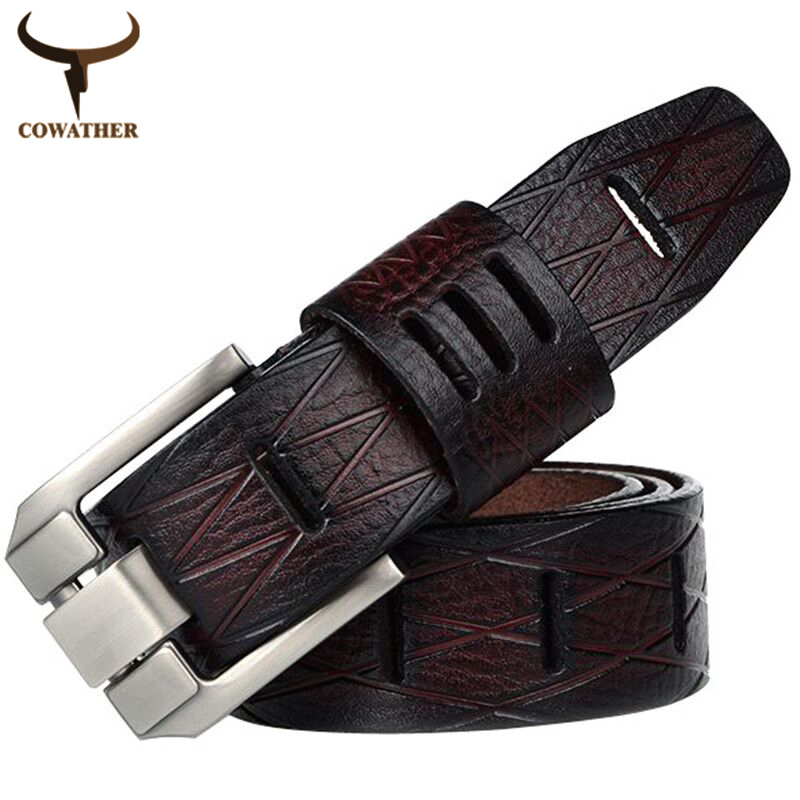 COWATHER 2017 good quality cow genuine luxury leather men belts for men strap male pin buckle BIG SIZE 100-130cm free shipping