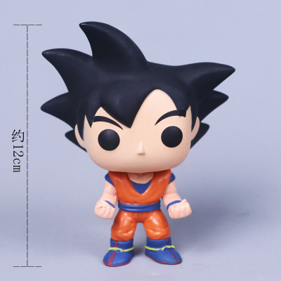 FUNKO POP  10cm Anime Dragon Ball Z POP Super Saiyan Goku Red Hair Action Figure PVC Collection Model Doll